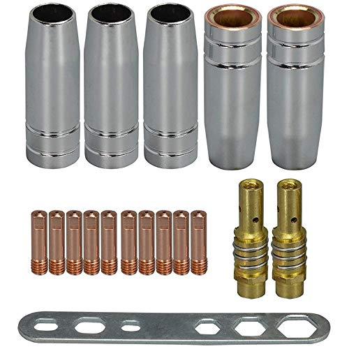 Wivarra 18Pcs Kit de Antorcha de Soldadura Punta de Contacto 0.8Mm M6 y Puntas Soporte Difusor y Copa de ProteccióN para Mb15 15Ak Mig Welding Torch