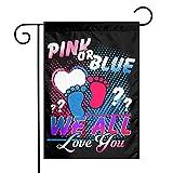 Jopath Banderas para exteriores con texto en inglés 'We All Love You', color rosa o azul, 100% poliéster, resistente, resistente a la decoloración