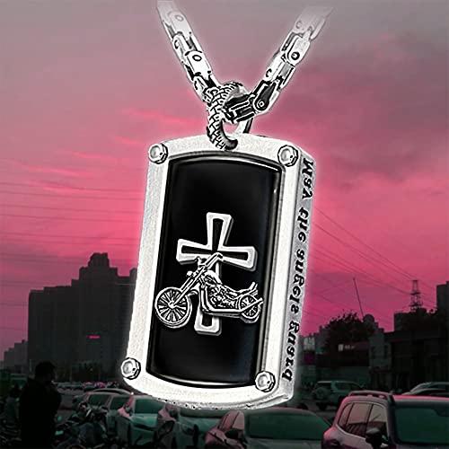 nTa Colgante Grabado Hombre-Biker's Blessing Collar con Colgante Grabado-Collar De La Cruz del Rezo De Los Hombres-Regalo Punky Personalizado De La Joyería-A