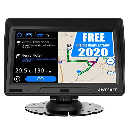 AWESAFE Auto Navigation 7 Zoll Navigationsgerät mit Sonnenblende, 2020 Europa Karte untertützt lebenslang kostenlos Kartenupdate