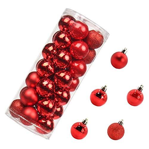 Fgolphd 35pc Bolas de Navidad Adorno Árbol de Navidad Decoraciones de Bola de Navidad Bola de Navidad Oro Rojo Plata Pink Pink Azul Colgando Casa Decoración (Color : Red)