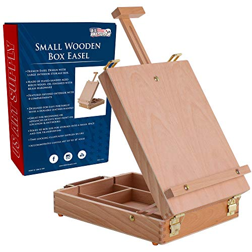 U.S. Art Supply Newport Small Adjustable Wood Table Sketchbox Easel, Premium Beechwood - Portable Wooden Artist Desktop Storage Case - Store Art Paint, Markers, Sketch Pad - Student Drawing, Painting
