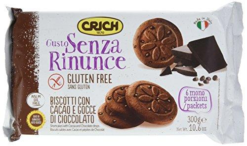 Crich Frollino con Cacao e Gocce di Cioccolato - Pacco da 10 x 300 g, Senza glutine