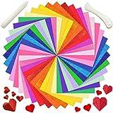 100 Feuilles Papier Origami de Double Face de Saint-Valentin 50 Feuilles Papier Pliant à Paillettes et 2 Outils de Dossier de Pliage de Papier pour DIY Papier à Main Artisanat Scrapbooking