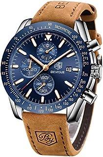 Impermeable para hombre cronógrafo reloj analógico-BENYAR lujo negocio Vestido reloj ideal para regalo de cumpleaños