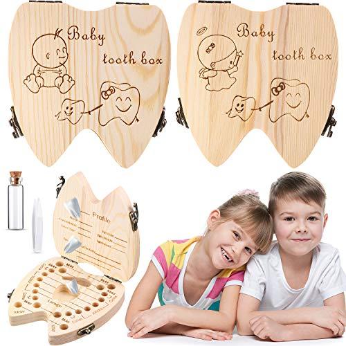 2 Hölzern Baby Zahn Box, Niedlicher Kinder Zahn Aufbewahrung Behälter für Mädchen Junge Zahn Organizer Halter Zahndose Sparbox mit Pinzette Lanugo Flasche um Kindheitserinnerung Behalten