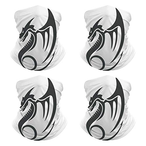 Bandanas Flat Simple Dragon Vector Silhouette Face Mask for Sports NN-55661