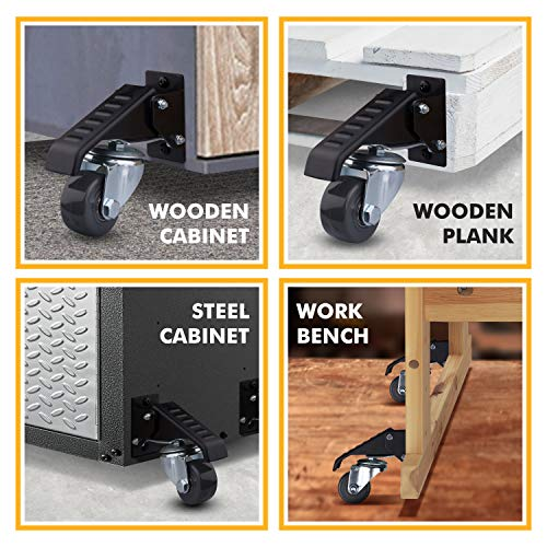 Workbench Casters - 4 Extra Heavy Duty Retractable casters, 840 lbs. Weight Capacity, Urethane Wheels