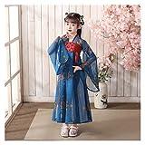 YUNGYE Disfraz de hada hanfu chino para niña con falda de hada Hanfu y manga larga para verano (color: estilo P, tamaño: 150 cm)
