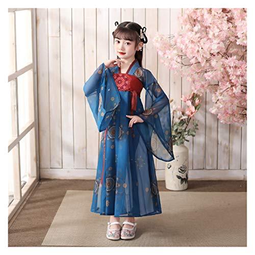 Ragazze Hanfu Stile Cinese Super Fata Gonna Bambini Costume Vestito Hanfu Fata Che Scorre A Maniche Lunghe Abito Estivo (Colore: Stile P, Taglia : 130cm)