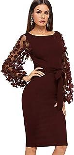 DIDK Damen Netz Figurbetontes Kleid Schlauch Kleider mit Knoten Gürtel Stickerei Blumen Applikation Bishop Ärmel Knielang Übergoß Bleistift Einfarbig Party Kleider