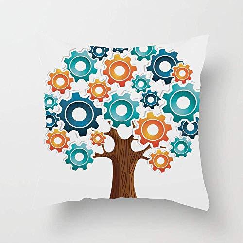 N\A Innovation Gears Concept Tree System Cooperación con la Naturaleza Start Up Modern Graphic Throw Pillow Cover Funda de Almohada Personalizada para sofá Dormitorio Coche