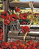 Pintar por Numeros Adultos Amapolas Pintura Guiada por Numeros,Niños DIY Pintura por Números con Pinceles y Pinturas-hogar decoración de casa 40 x 50 cm(con marco)