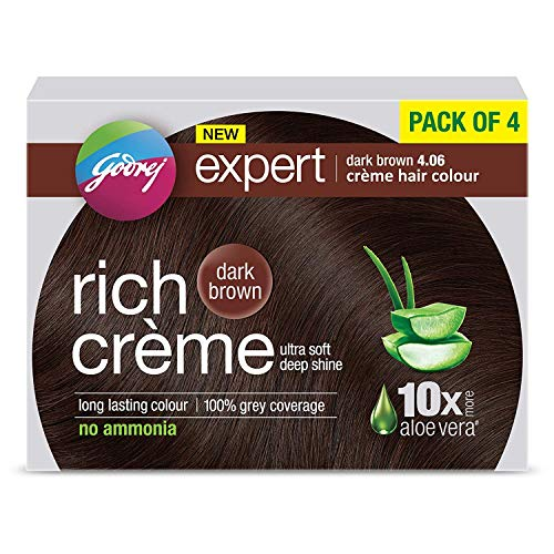 Godrej Expert Rich Crème Hair Colour Shade 4.06 DARK BROWN, Pack of 4