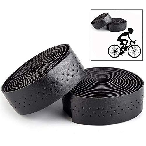 Xrten 1 Paar Rennrad Lenkerband,PU Leder Lenkerband mit Endkappen Mountainbike Lenkerband(Schwarz)