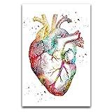 ROTOOY Póster de arte médico y ciencia, diseño de corazón humano y arte de pared, impresión moderna para dormitorio familiar, 30 x 45 cm