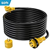 Kohree 30 Amp RV Power Extension Cord 50 ft with Grid Handle Heavy Duty, 30M/30F 90 Degree...
