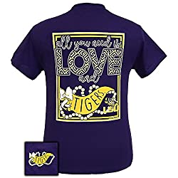 Girlie Girls All You Need is Love and LSU Short Sleeve T-Shirt