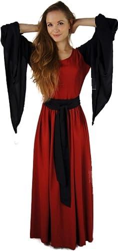 Dark Dreams Gothic Mittelalter Wikinger Kelten LARP Kleid Valkyrie Trompeten el rot Schwarz36 38 40 42 44 46, Farbe rot Schwarz Größe L