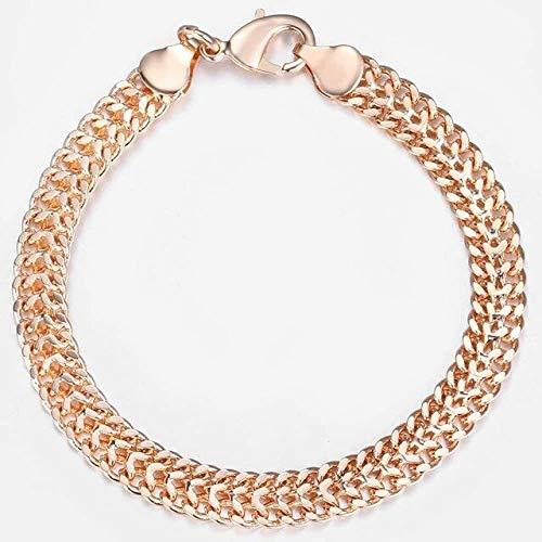 Kdyi Pulsera de Oro Rosa con Cadena de eslabones, Regalos de Fiesta de 20 cm, Pulsera de Cadena de eslabones de Cuentas de2 mm para Mujer y niña