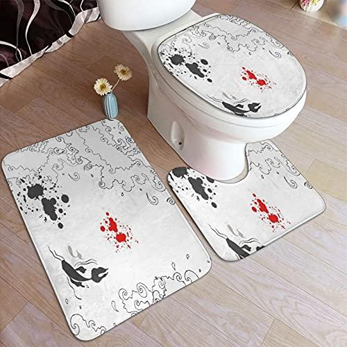 Juego de alfombras de baño de 3 piezas ,Peces Koi asiáticos nadando en el bosquejo de, Alfombrilla antideslizante de baño, alfombra de contorno, almohadilla de cobertura, para bañera, ducha y baño.