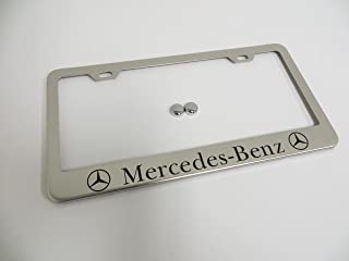 Deepro Mercedes-Benz Stainless Steel Chrome License Plate Frame Tag Holder with Screw Cap Covers