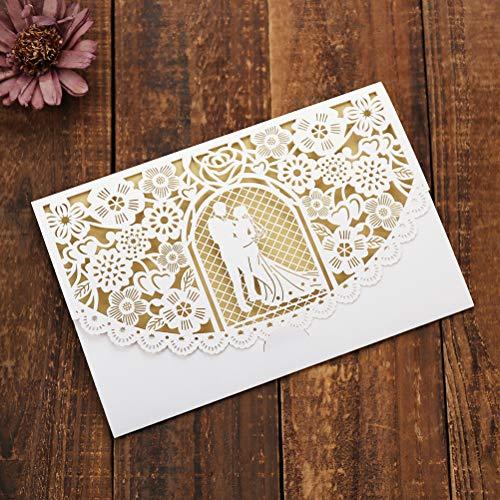JinSu 10 Stück Laser Geschnittene Hochzeitsparty Einladungskarten mit Bedruckbaren Papier und Umschläge für Hochzeit Hochzeitstag Braut Brautdusche Party und mehr (Hauptsächlich für Hochzeiten)