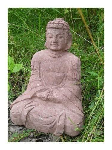 Wunderschöner Buddha aus rotem Sandstein - Japanischer Garten Rokkaku Yukimi Kasuga Pagode