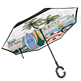 Coastal Decor Collection Umbrella Windproof Dining in Beach Under Sunlight Palm Trees and Shadows Shades Luxurious Vacation Print Yellow Blue