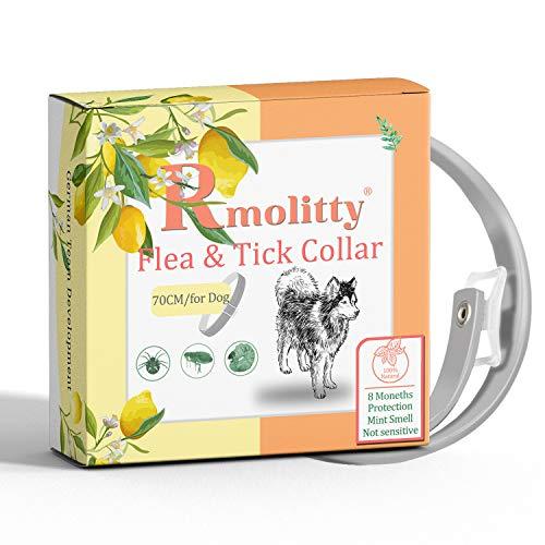 Rmolitty Collar Antiparasitario Perros, Collar para Garrapatas,Tratamiento de pulgas de aceites Naturales para 8 Meses de protección, 70 cm de Longitud para Perros Pequeña Mediano Grande