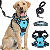 Large Dog Harness Waldseemuller Dog Harness for Large Dogs No Pull Dog Vest with Handle 4 Buckles Dog Harness Easy ON and Off Adjustable Soft Padded Pet Vest with Easy Control Handle