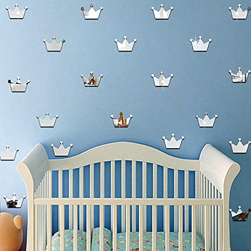 Pegatinas de pared para habitación de niños, pegatinas de pared de espejo con corona de princesa 3D, pegatinas de espejo tridimensionales para decoración de habitación de niños, plateado (15 hojas)
