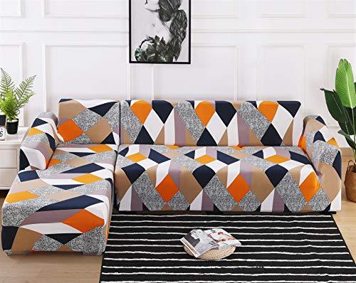 ASCV Fundas de sofá de Esquina en Forma de L para Sala de Estar Fundas de sofá Funda de sofá elástico elástico seccional sofá Cubre sofá A8 2 plazas
