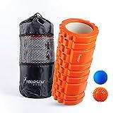 Syourself フォームローラー&Foam Roller-高弾力のEVAエコ素材、ストリガーポイント、グリッド、14cm×33cm、筋膜リリース、ヨガポール-フィットネス/エクササイズ/ダイエット/ヨガ/ピラティス/に最適、専用ポーチ、説明書付(オレンジ)