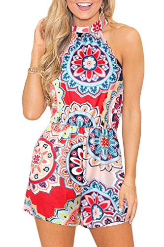 Womens Cute Beach Floral Casual Romper Boho Cotton Sleeveless Summer Strap Short Jumpsuit Multi-Color L