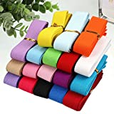 30 Yards Color Elastic Bands Wide Elastic Band Braided Elastic Band Elastic String for Crafts DIY Projects Sewing Headbands Hair Bands Shorts Waist Shoe Laces Wigs Bracelets, 18 Colors, 1 Inch