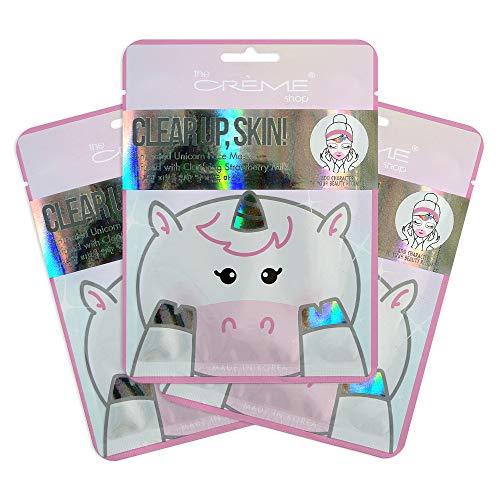 The Crème Shop Korean Skin Care Animal Face Mask Sheet 3 Pack (Unicorn (Strawberry))