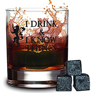 I Drink and I Know Things 10 oz Whiskey Glass + FREE 3 Whiskey Stones - Made In Casterly Rock – Game Of Thrones Inspired – Funny Novelty - With White Gifts box included - by Desired Cart