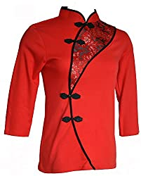 Chinese Sexy Cotton 3 Quarter Sleeves Cheongsam Qipao Dress Top
