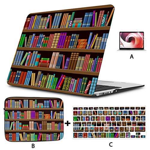 Macbook Air Case 2018 Books In Library Bookcase Mac 13 Inch Case Hard Shell Mac Air 11'/13' Pro 13'/15'/16' With Notebook Sleeve Bag For Macbook 2008-2020 Version