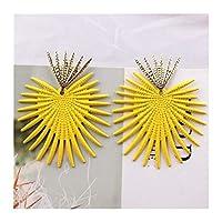 LKSPD 女性の夏のデザイン幾何学フラワーハートピアスクリエイティブ甘いウェディングジュエリーのための黄色の色のドロップピアス (Color : EK4572)