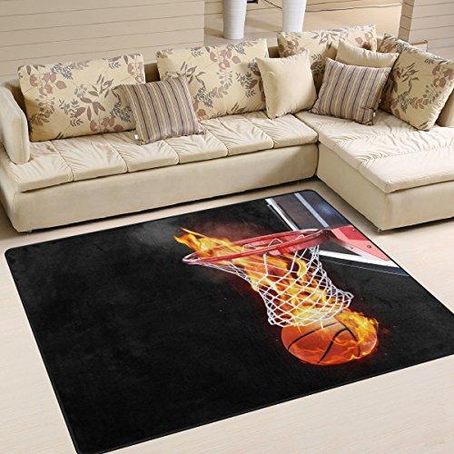 Naanle Fire Basketball Rutschfester Teppich für Wohnzimmer, Esszimmer, Schlafzimmer, Küche, 50 x 80 cm, multi, 120 x 160 cm(4' x 5')