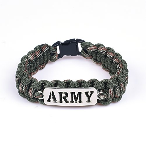 Cosmos 8' Army Camouflage Green Fiber Survival Bracelet Strap with Plastic Buck