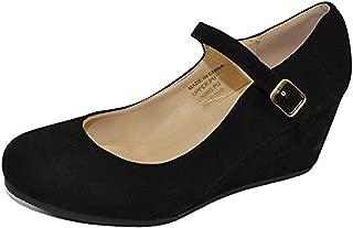 Women's Almond Toe Mary Jane Mid Heel Wedge Pump Shoes