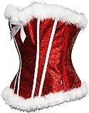 Abbigliamento Erotico in Pelle E Latex Abbigliamento Erotico Corsetto Overbust Sexy in Velluto Rosso Natalizio per Donna-XL_1