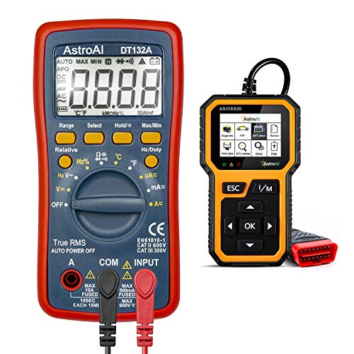 AstroAI Digital Multimeter, TRMS 4000 Counts Volt Meter and Multi-Fuctional OBD2 Scanner- Bundle