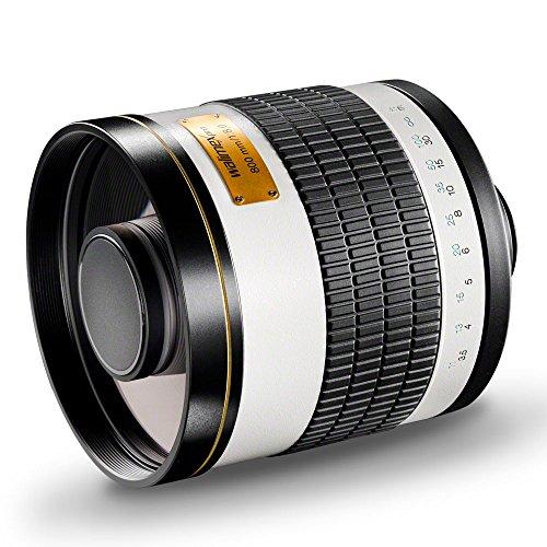 Walimex Pro 800mm 1:8,0 DSLR-Spiegelobjektiv für Sony A Objektivbajonett weiß (manueller Fokus, für Vollformat Sensor gerechnet, Filterdurchmesser inkl. Schutzdeckel und Objektivbeutel)