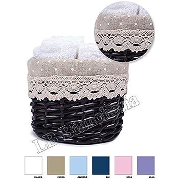 5 asciugamano viso cm 30x30 con cestino a cuore Shabby Chic Provenzale- idea regalo Lovely Home BEIGE Set spugna Lavette Passione