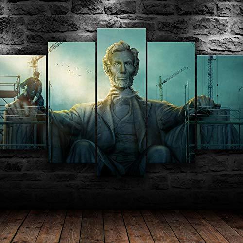 MENGLE Cuadros Decor Salon Modernos 5 Piezas Lienzo Grandes XXL Murales Pared Hogar Decor Arte Pared Abstracto Póster Abraham Lincoln America USA HD Pintura Impresión Artesanía,150X80Cm