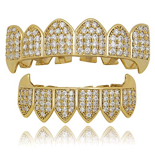 ZKKK Gold Teeth für Mouth Top Bottom Hip Hop Teeth Grills Kristallgold/Splitter-Farbe Tooth Cap Fashion Schmuck für Männer/Frauen Geschenke,Gold